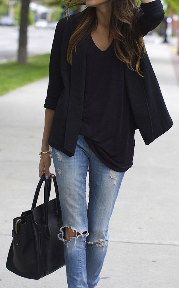 Wear a black blazor and top with a pair well with torn jean pants for a casual and chic look