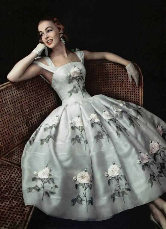 1956 Givenchy dress with hand applied bouquet detail.