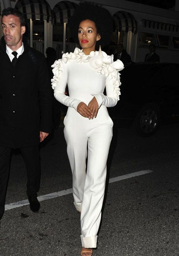 Solange Knowles's at Cannes 2013 in Stephane Rolland Spring 2013 White Ruffled Jumpsuit