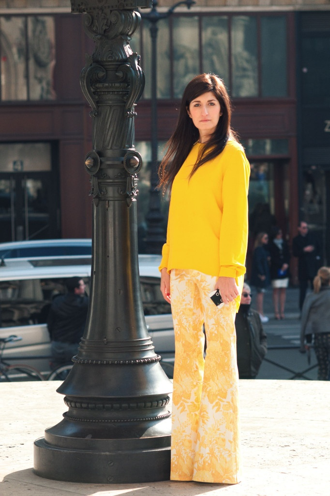 Yellow long sleeve blouse and yellow and white floral flared pants