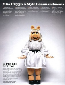 Miss Piggy wearing PRABAL GURUNG in the November issue of InStyle! Most fashionable pig !