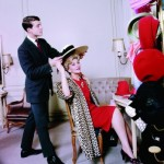 Halston with Anita Colby at Bergdorf Goodman, 1965. Photo by Ormond Gigli