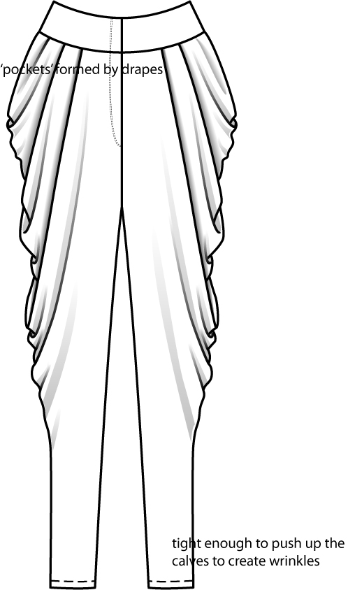 harem pants template - pants technical flat coloring pages