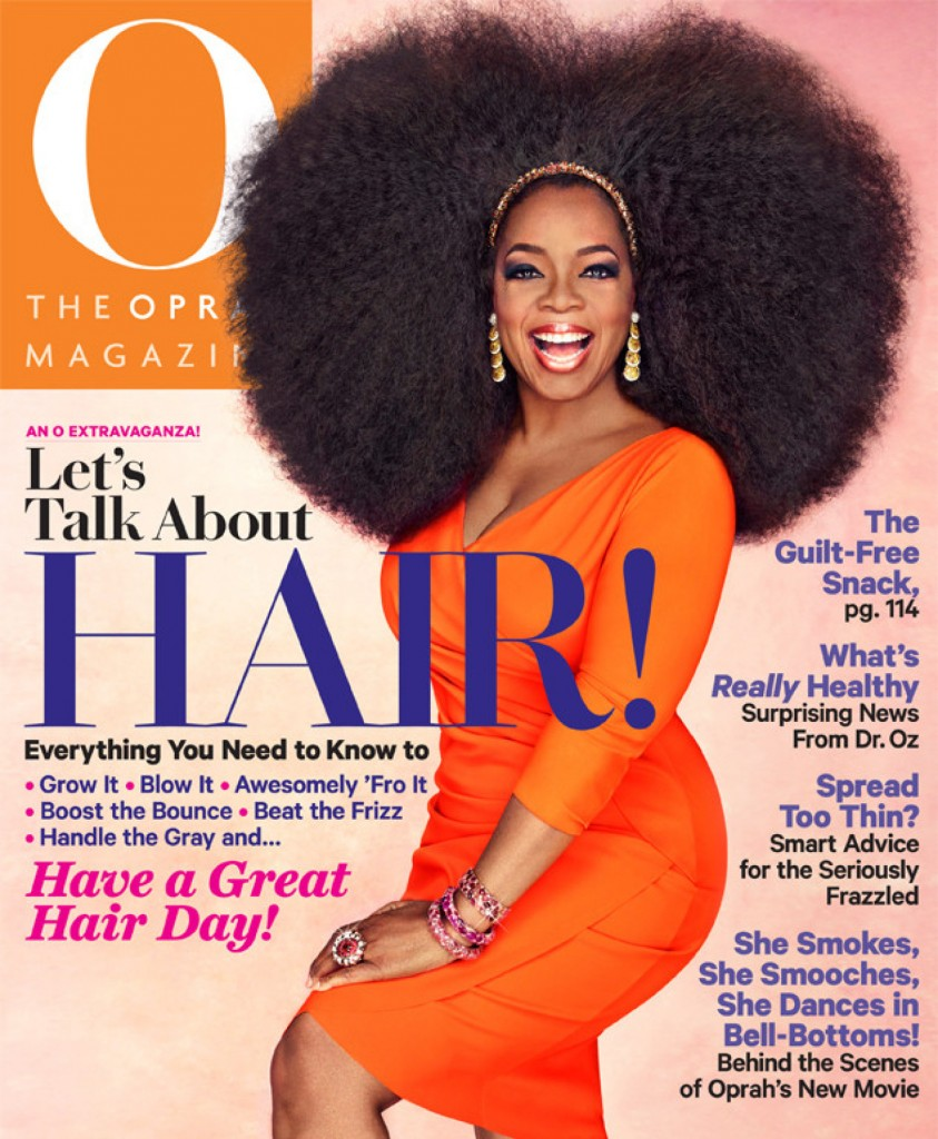 o OPRAH AFRO WIG facebook1 843x1024 Oprah sports huge wig on the cover of O magazine