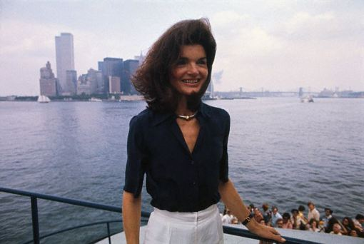 Jacqueline Kennedy Onassis Posing Outside Near Water