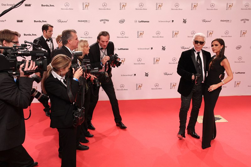 Celebrities attending the Bambi Awards 2013 in Berlin, Germany on November 14, 2013. Pictured: Karl Lagerfeld and Victoria Beckham Ref: SPL649643 141113 Picture by: A-way! / Splash News Splash News and Pictures Los Angeles: 310-821-2666 New York: 212-619-2666 London: 870-934-2666 photodesk@splashnews.com