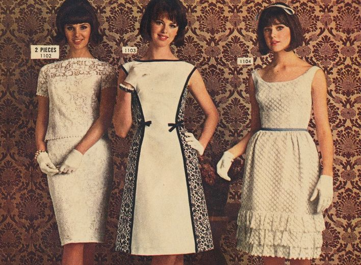 Colleen Corby and others in white Jonathan Logan dresses, 1964.