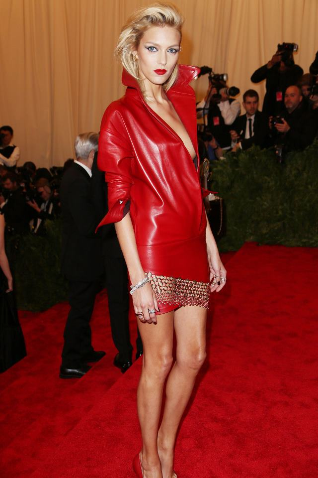 Anja+Rubik+in+a+red+leather+Anthony+Vaccarello+dress+and+a+chainmail+skirt