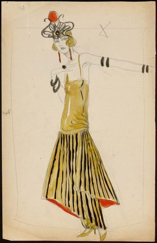Sketch by Paul Iribe,1922. Paul Poiret designs