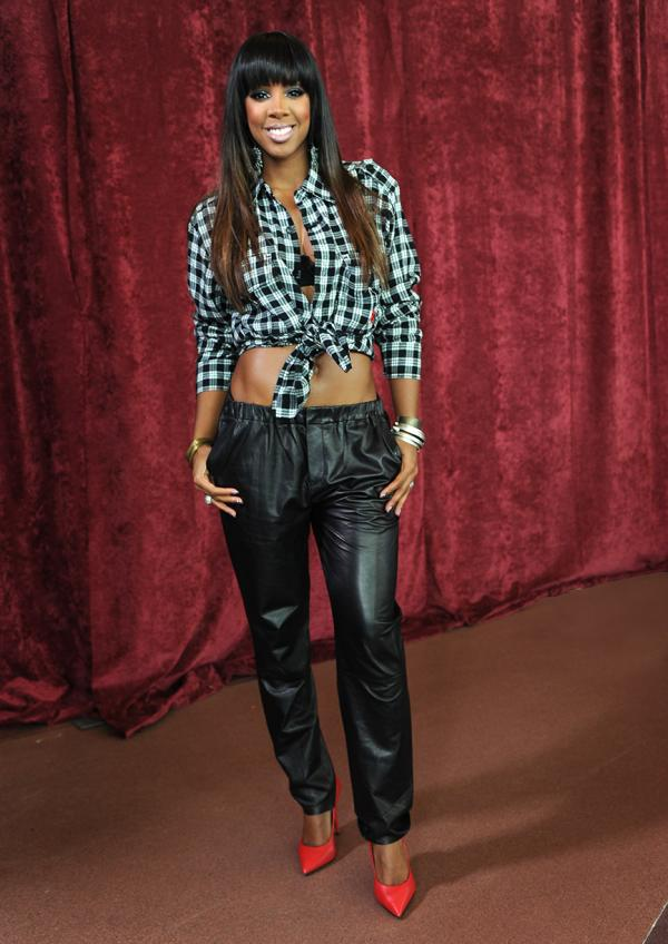 kelly-rowland-x-factor-denver-auditions-artful-dodger-plaid-top-vince-seamed-leather-pants-giuseppe-zanotti-red-leather-pointy-toe-pumps-eddie-borgo-fall-2013-earrings
