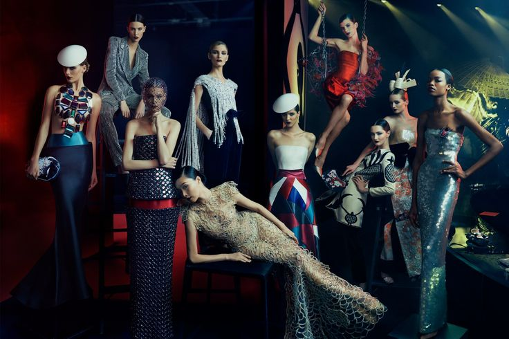 norman jean roy captured this group portrait of models wearing pieces from the #armani 'eccentrico exhibit', a selection of clothing, jewelry, shoes and fragrances from the Giorgio Armani and Giorgio Armani Privé collections. the exhibit traveled Milan, Tokyo, Hong Kong, Rome and New York.