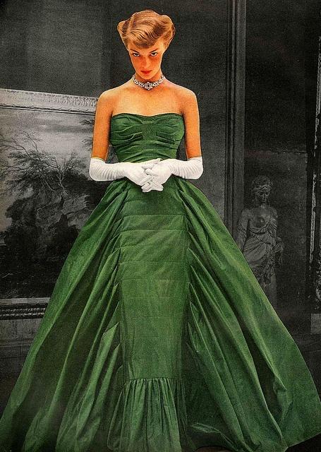 ~Taffeta ballgown by Adrian. Vogue November 1948~