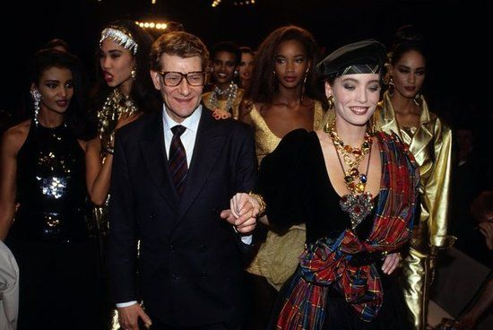 Yves Saint Laurent: Yves Saint Laurent at the YSL High Fashion Show in Paris in January 1996.