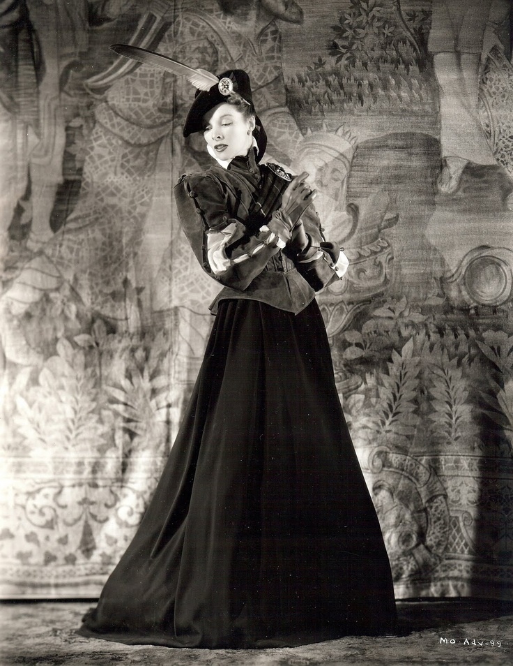 Katharine Hepburn began her movie career at RKO. She preferred working with Walter Plunkett, especially for his stylish re-creations of historic costume. Here Hepburn is shown in a Plunkett costume from Mary of Scotland, 1936.
