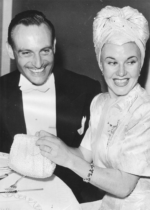 Walter Plunkett and Ginger Rogers at the Los Angeles premiere of Gone With the Wind