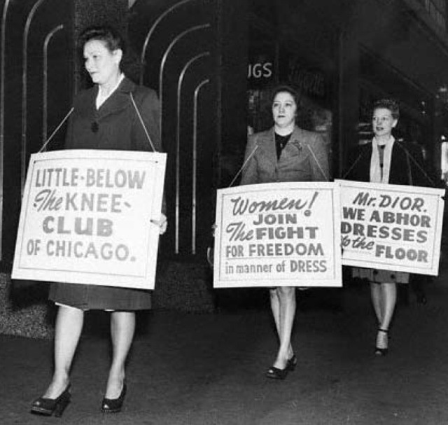 """Protesters of """"The Little Below the Knee Club"""". (formed by Mrs Woodward in August 1947 in Dallas, Texas, USA)"""