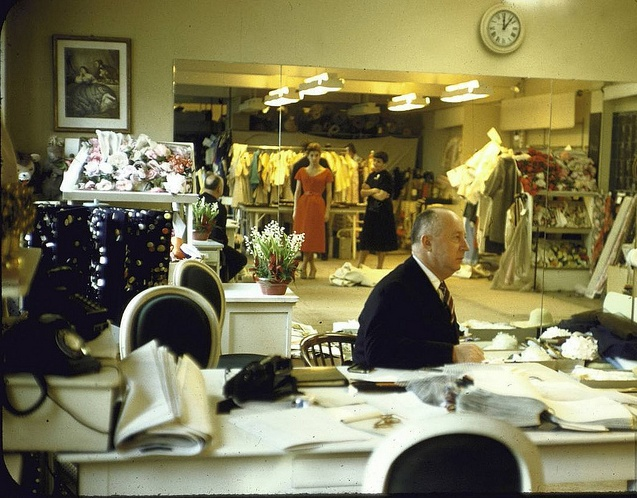 Christian Dior sitting, photo by Loomis Dean, 1957