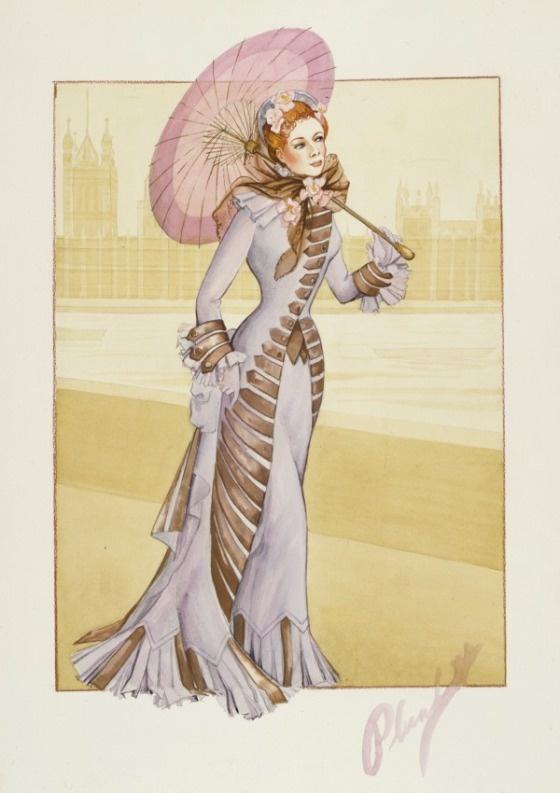Walter Plunkett. Costume Sketch of Greer Garson as Irene Forsyte in the Metro-Goldwyn-Mayer Production, 'That Forsyte Woman', 1949