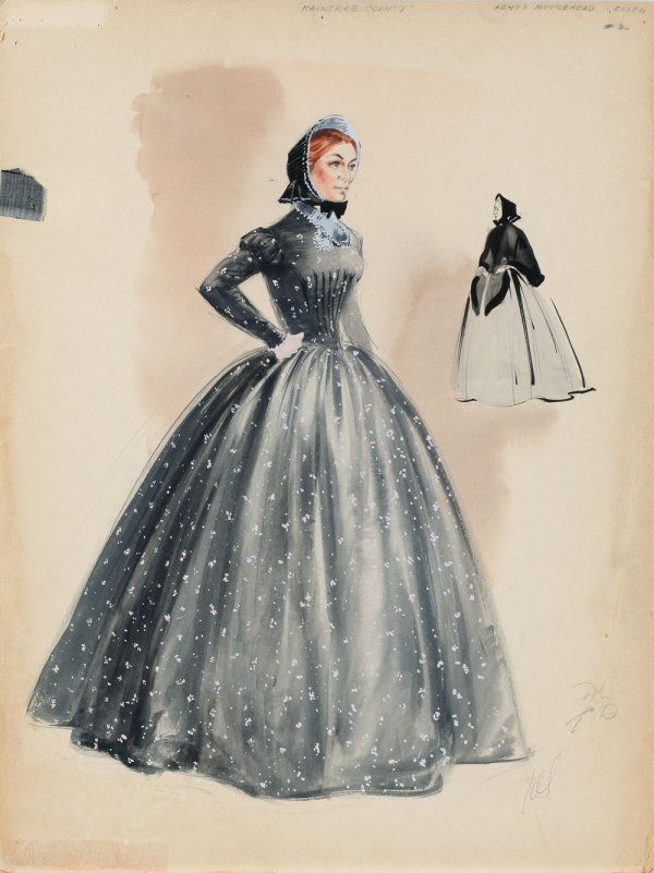 "Walter Plunkett costume sketch for Agnes Moorehead from ""Raintree County""."