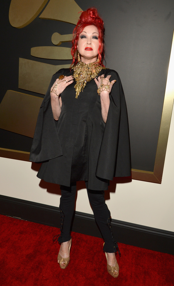 Cyndi Lauper in Alexander McQueen and Jimmy Choo shoes