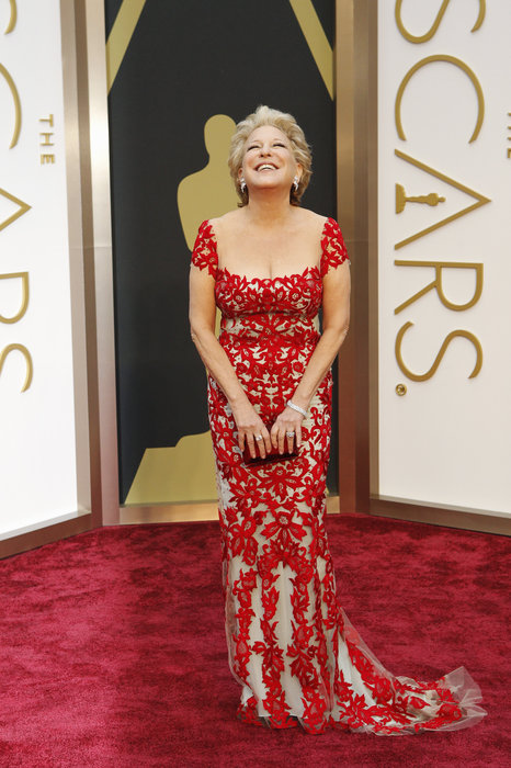 Bette Midler arrives at the 86th Academy Awards.