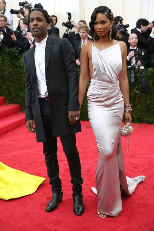 ASAP Rocky and Chanel Iman. MET GALA 2014