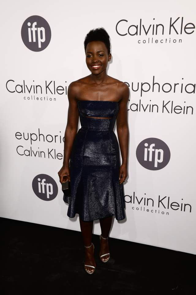 Lupita-Nyongo-Calvin-Klein-Collection-blue-leather-dress-Calvin-Klein-Celebrate-Women-In-Film-2014-Cannes-Film-Festival
