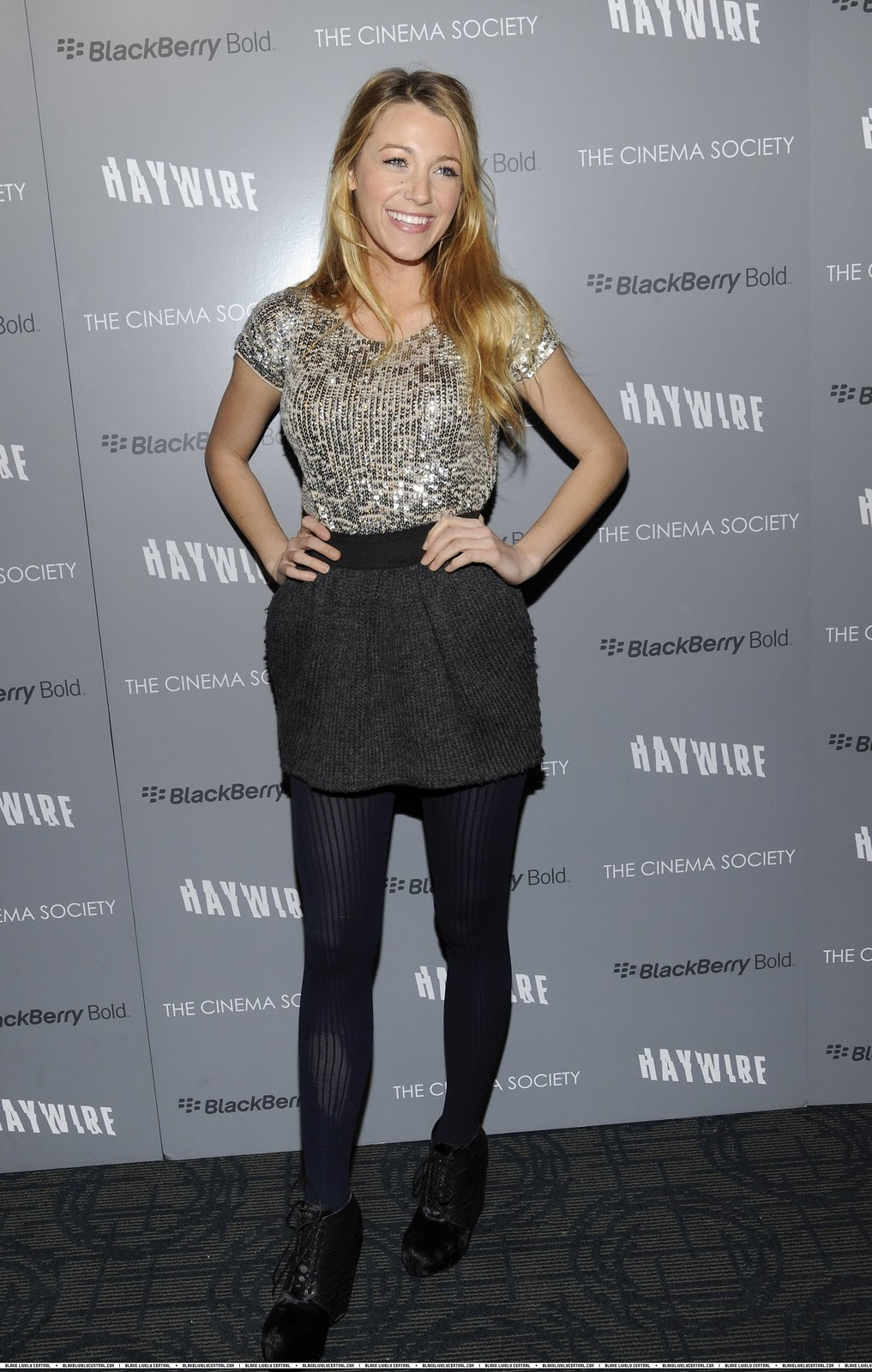 Blake Lively in in Dolce & Gabbana at an NYC screening of Haywire.
