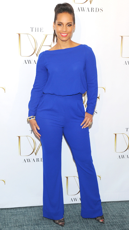 Alicia Keys in a blue DVF jumpsuit.