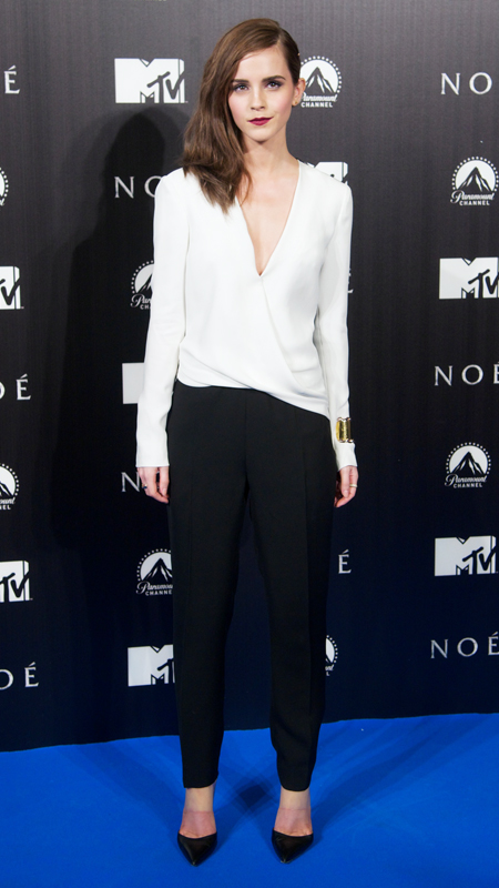 Emma Watson in a black and white J. Mendel jumpsuit with black pumps