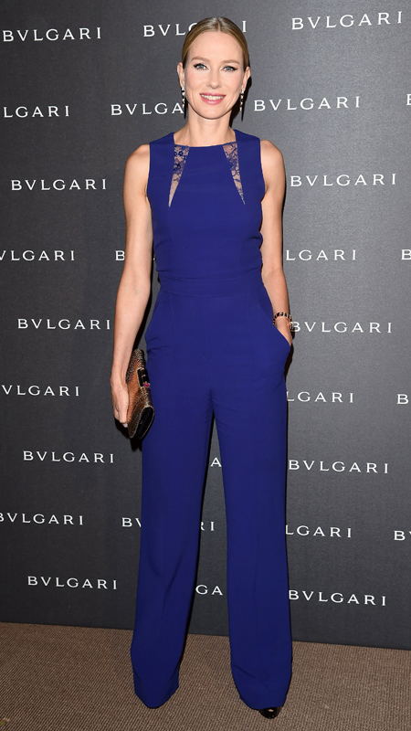 Naomi Watts in a blue Elie Saab jumpsuit.