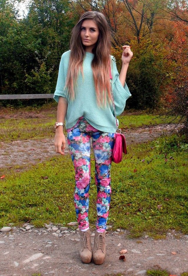 Sweater ,Printed pants and boots
