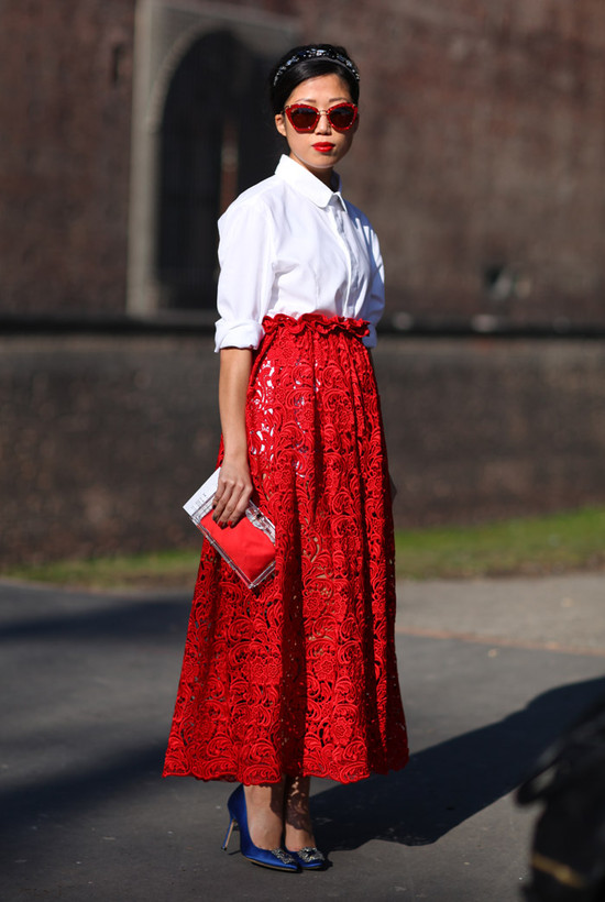 White blouse red lace skirt