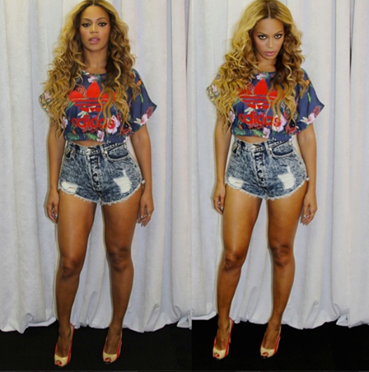 Beyonce posted on instagram while in Atlanta at her On The Run TourL rocking a RitaOra x Adidas floral crop top, denim distress shorts, and peep toe pumps by Ruthie Davis