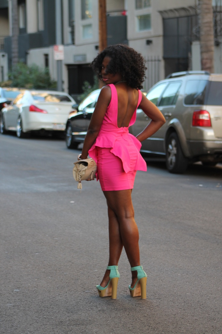 Pink puplum ruffled dress