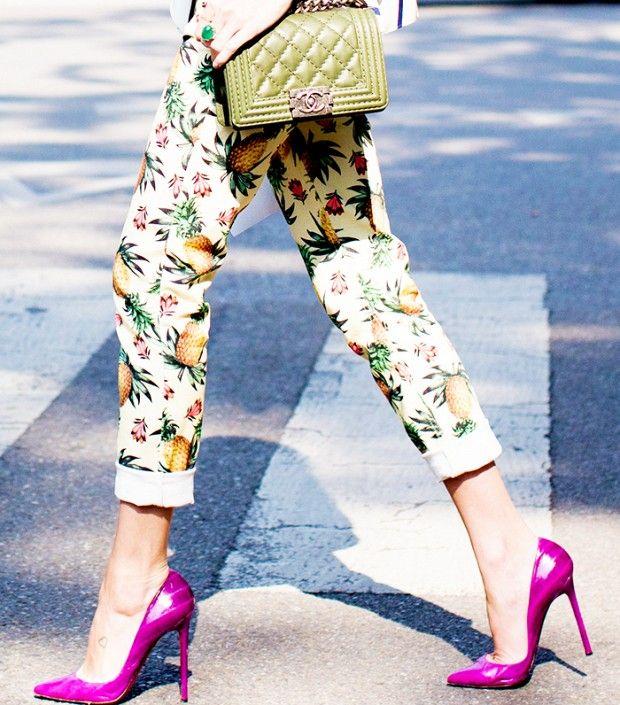 Printed Pants,; Bright Heels