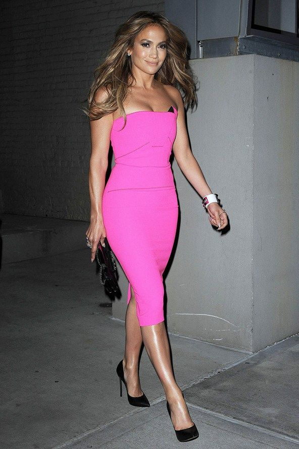 Jennifer Lopez in Roland Mouret at the launch party of her new album in New York