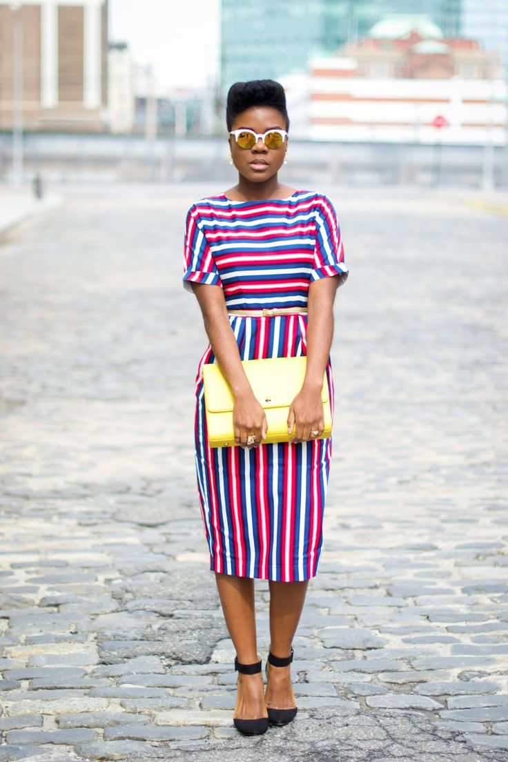 Dress with horizontal stripes on the top, vertical stripes on the lower half.