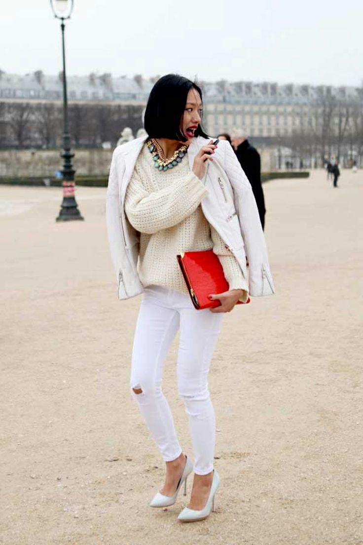 Jacket, sweater and whit jeans