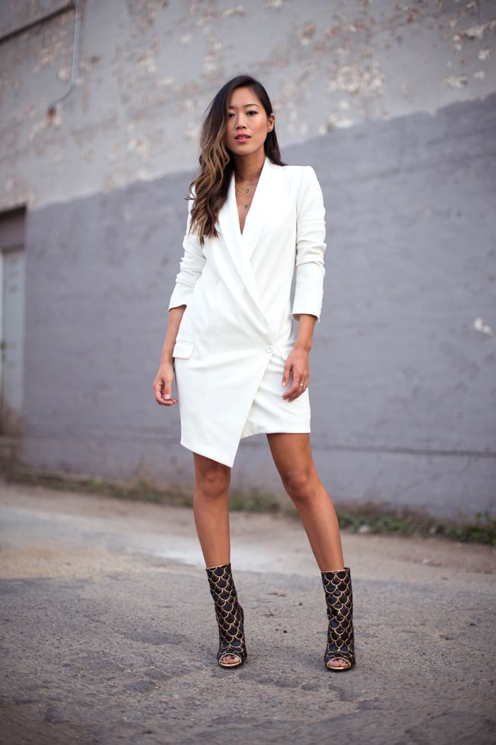 Blazer dress, Balmain open toe booties