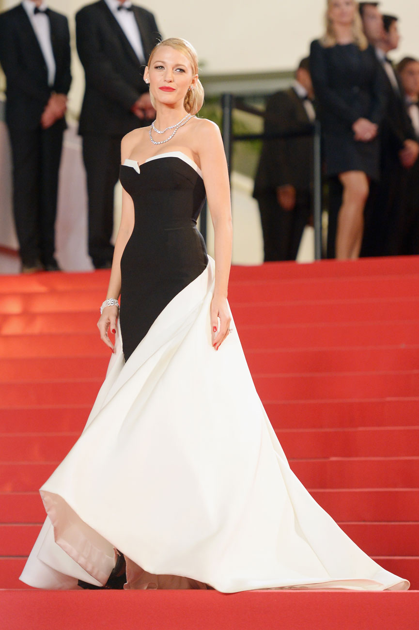 "Blake Lively posed in a black and white 1950s-style Gucci gown at the premiere of ""Captives."""