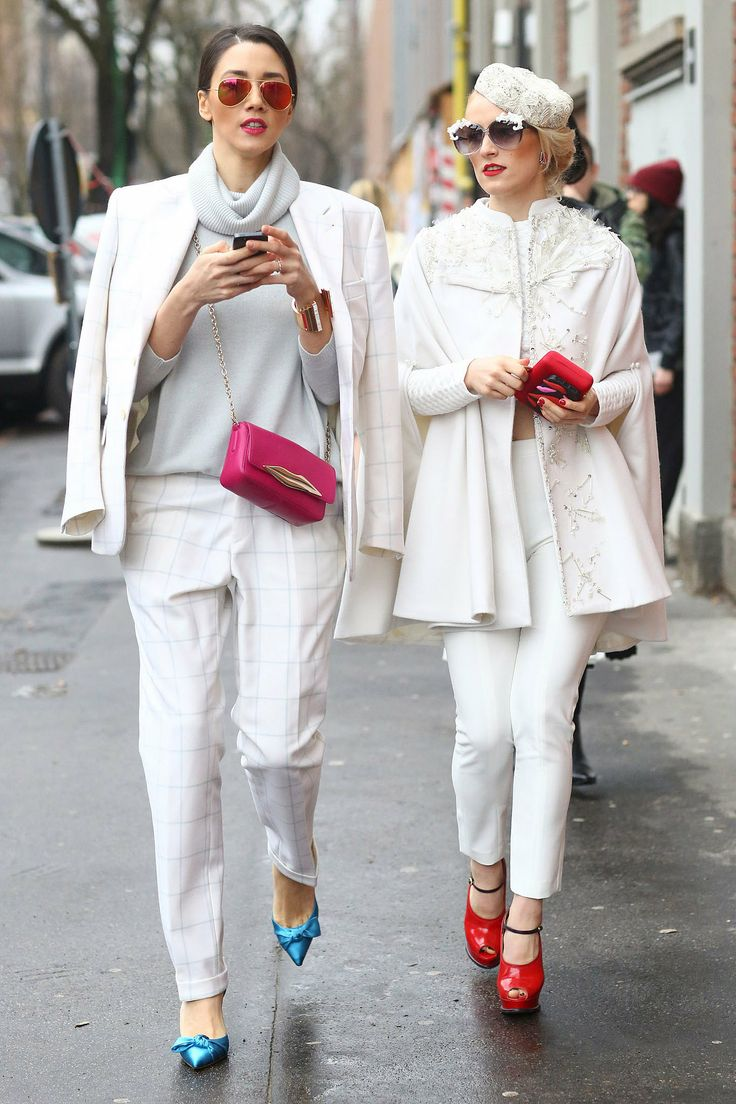 White pants and jackets with colored accessories and shoes