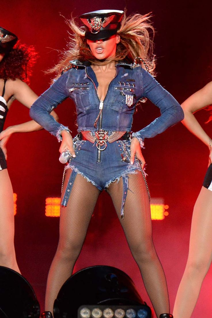 """Beyonce performs during opening night of the """"On The Run Tour: in custom Diesel at Sun Life Stadium on June 25, 2014 in Miami Gardens, Florida."""