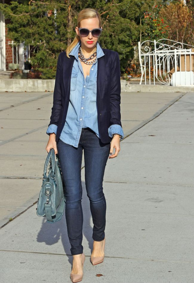 Cotton Blue jacket over denim blouse and pants with nude pumps
