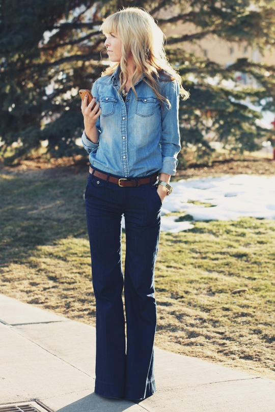 Denim Blouse and Flared Denim jeans