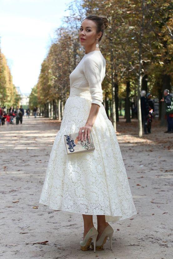 Fashion Icon ULYANA SERGEENKO in a white lace skirt