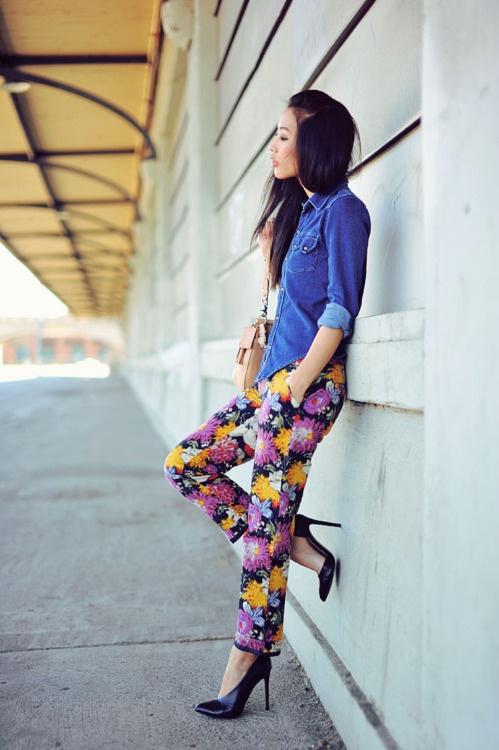 Denim blouse and printed pants
