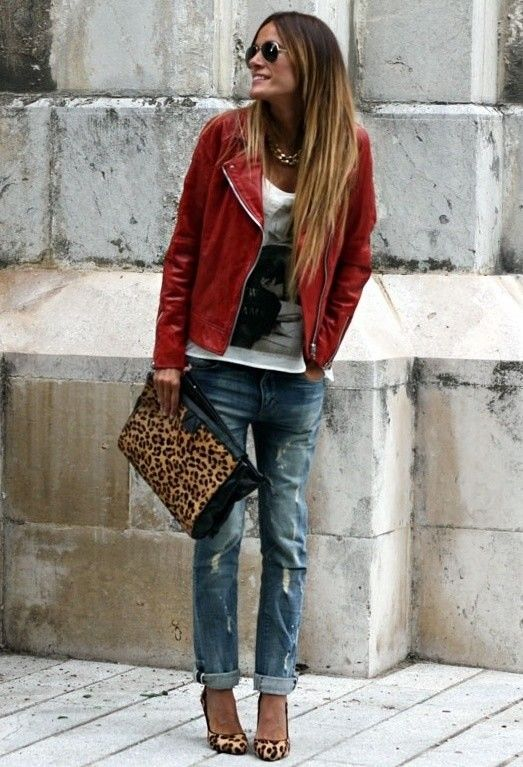 Red leather jacket , T shirt, jeans , leopard bag and shoes