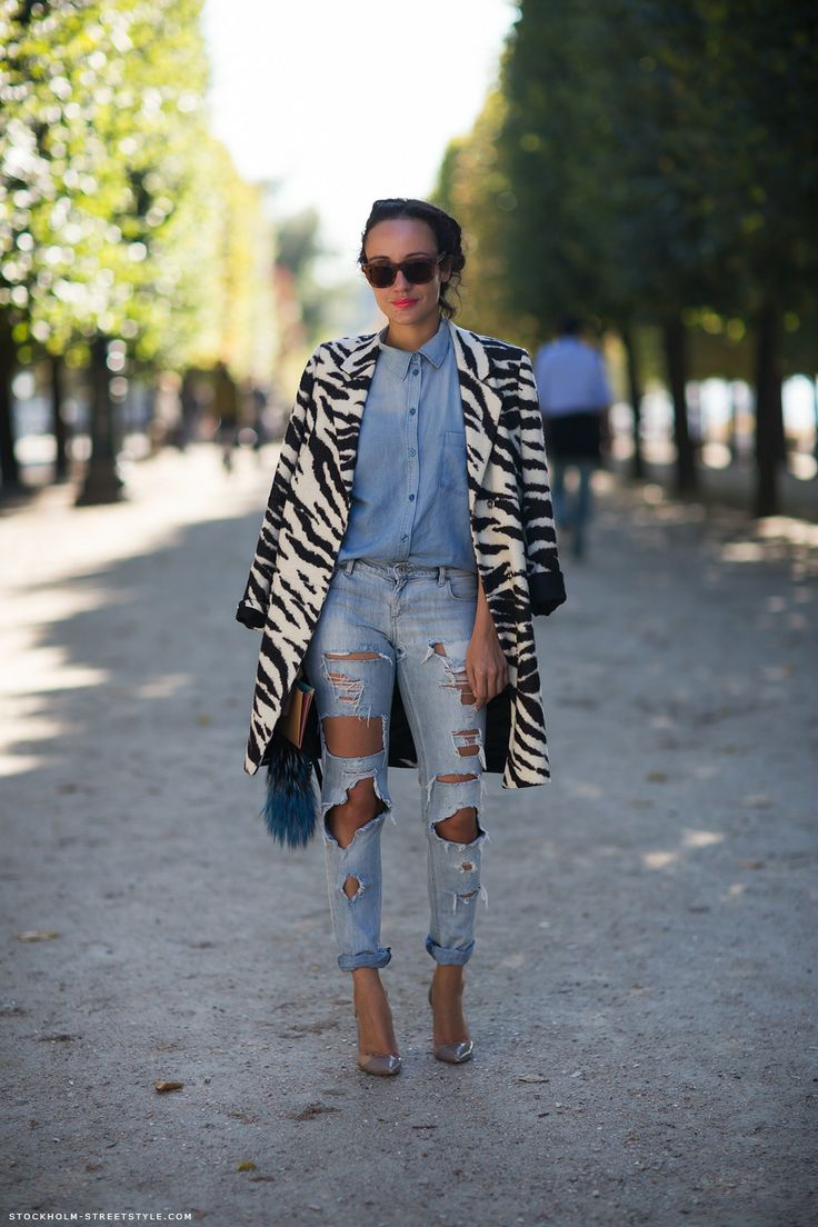 Denim Blouse, distressed jeans and Zebra Jacket
