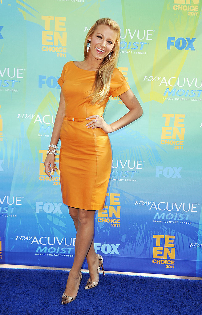 Blake Lively in a dress by Gucci paired with animal-print Louboutin pumps at the Teen Choice Awards